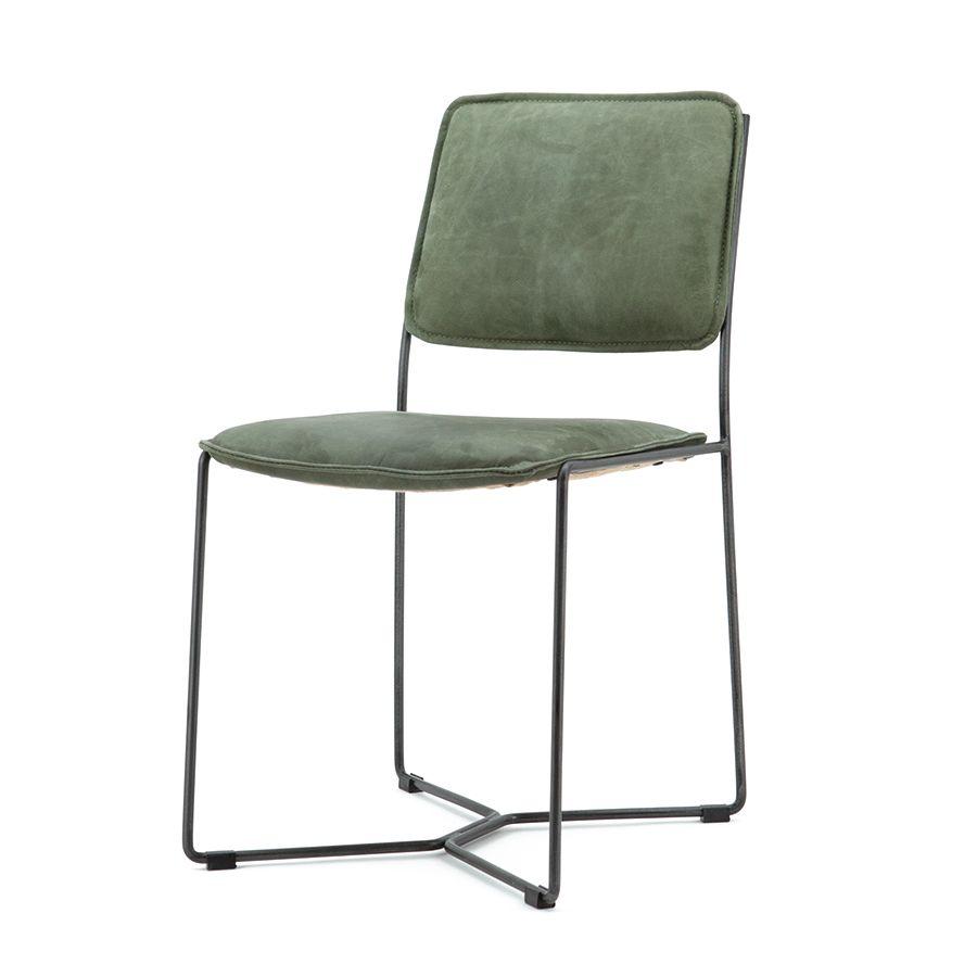 90058 Stoel Mees – groen vintage leder Kopen