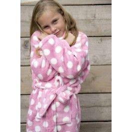Little pink dottie / kinder badjas Kopen