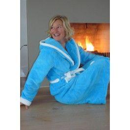 Aquablauwe badjas met capuchon Kopen