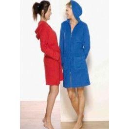 Badjas met rits in rood of blauw Kopen