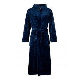 Blauwe fleece badjas met capuchon Kopen