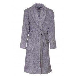 Fleece ochtendjas heren – Grijze/blauwe badjas Kopen