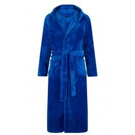 Koningsblauwe fleece badjas met capuchon Kopen