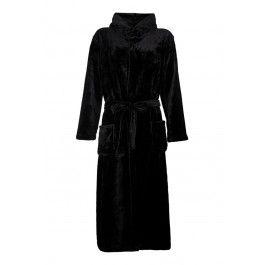 Zwarte fleece badjas met capuchon Kopen
