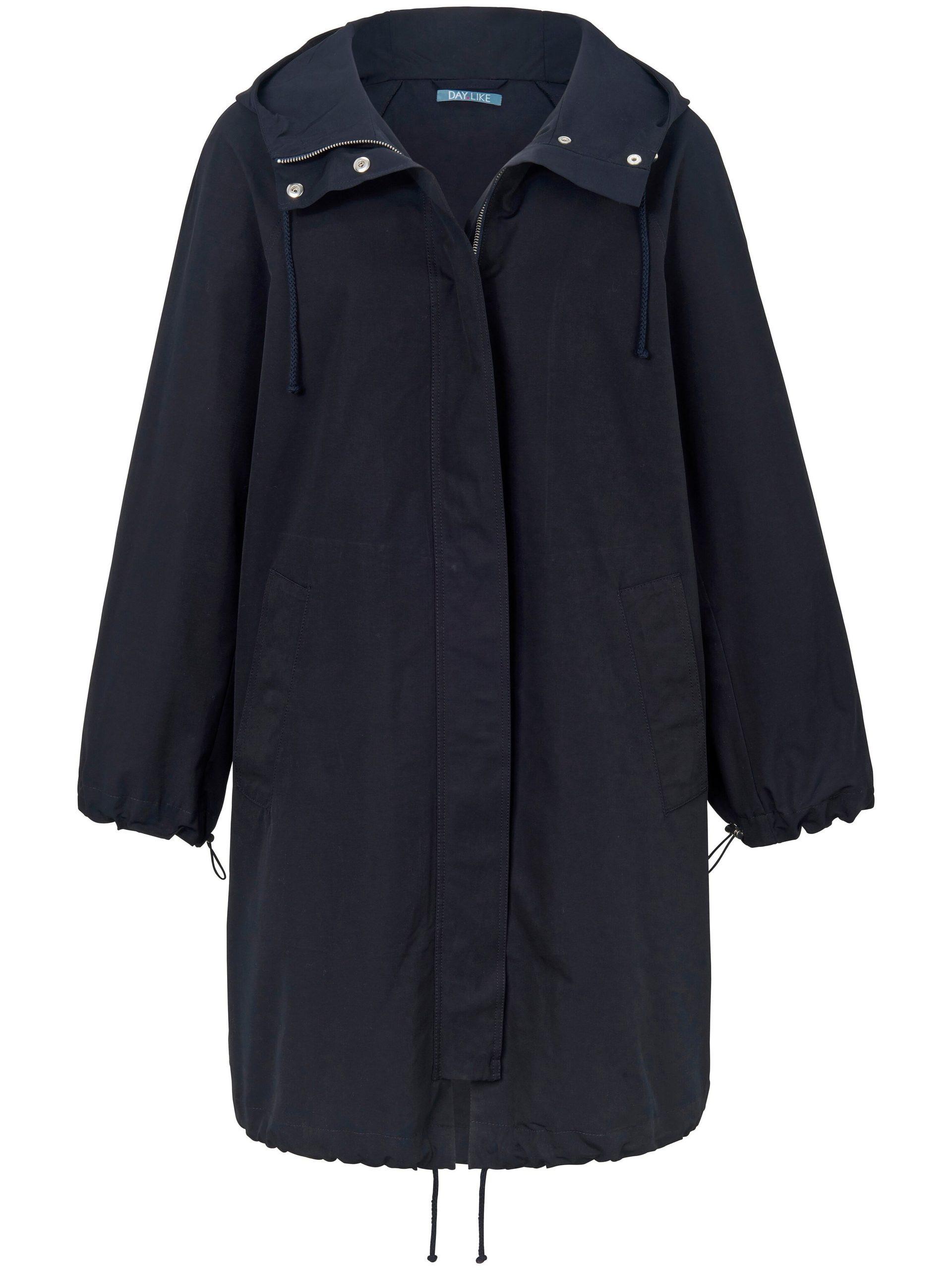 Lange jas met capuchon Van DAY.LIKE blauw Kopen
