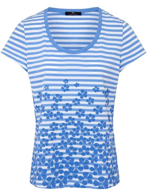 Shirt van 100% katoen met ronde hals Van Peter Hahn blauw Kopen