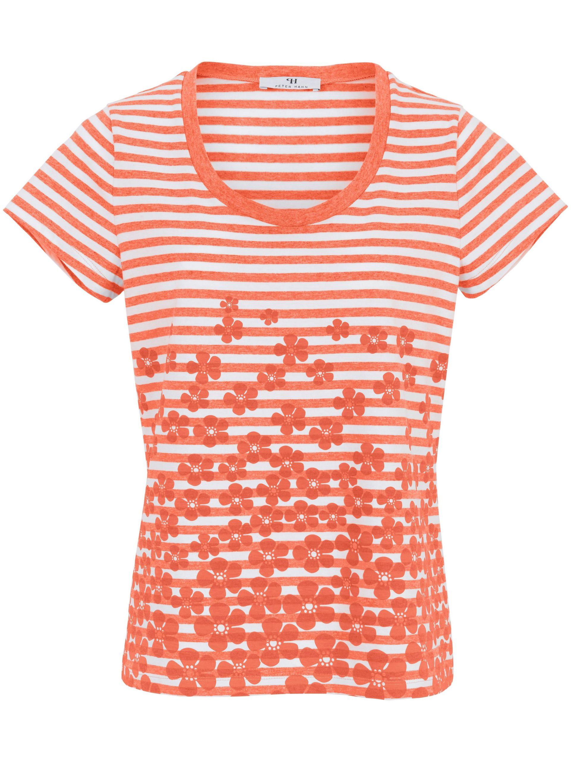 Shirt van 100% katoen met ronde hals Van Peter Hahn oranje Kopen