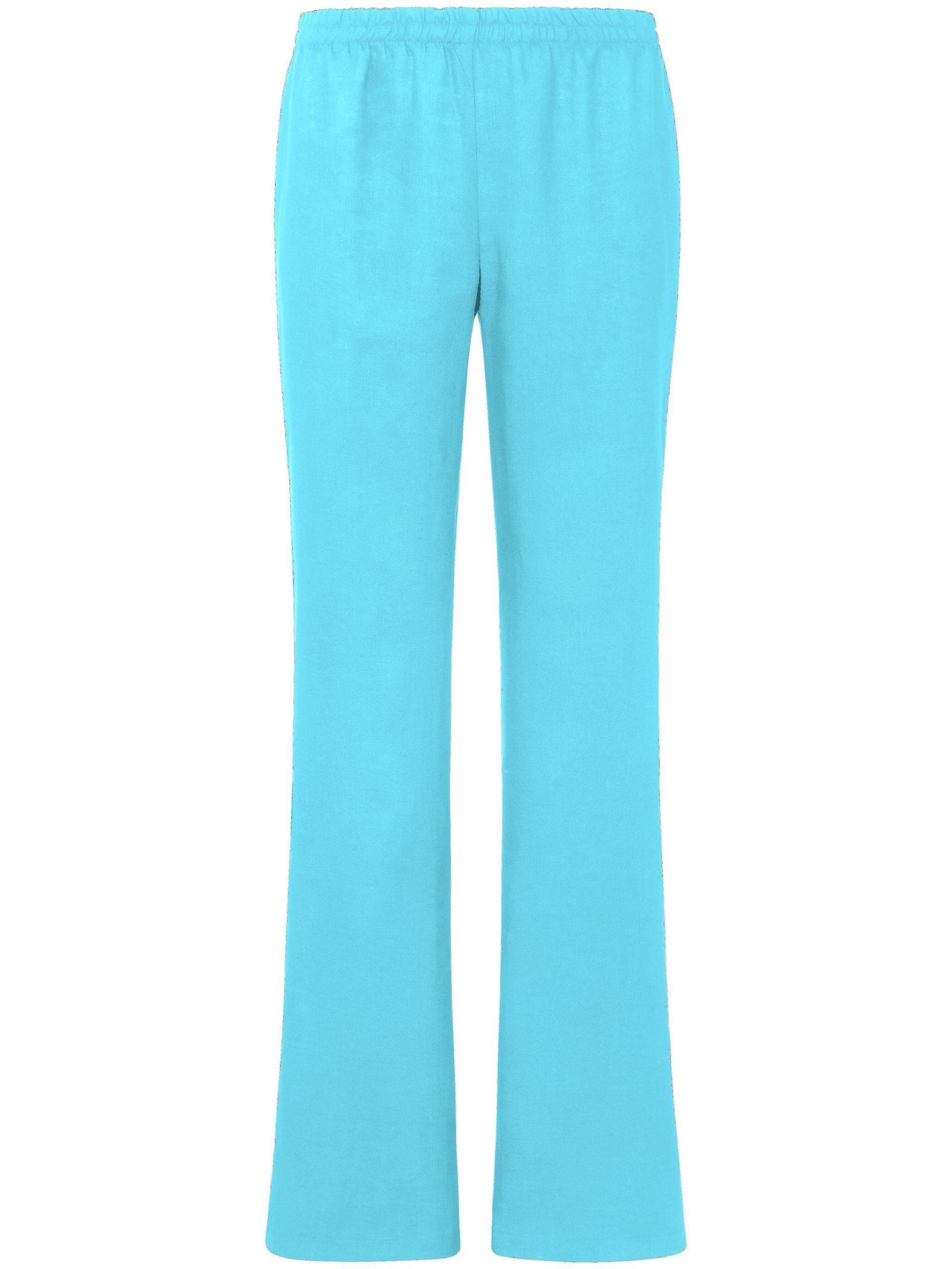 Broek van 100% linnen met rechte pijpen Van Peter Hahn blauw Kopen