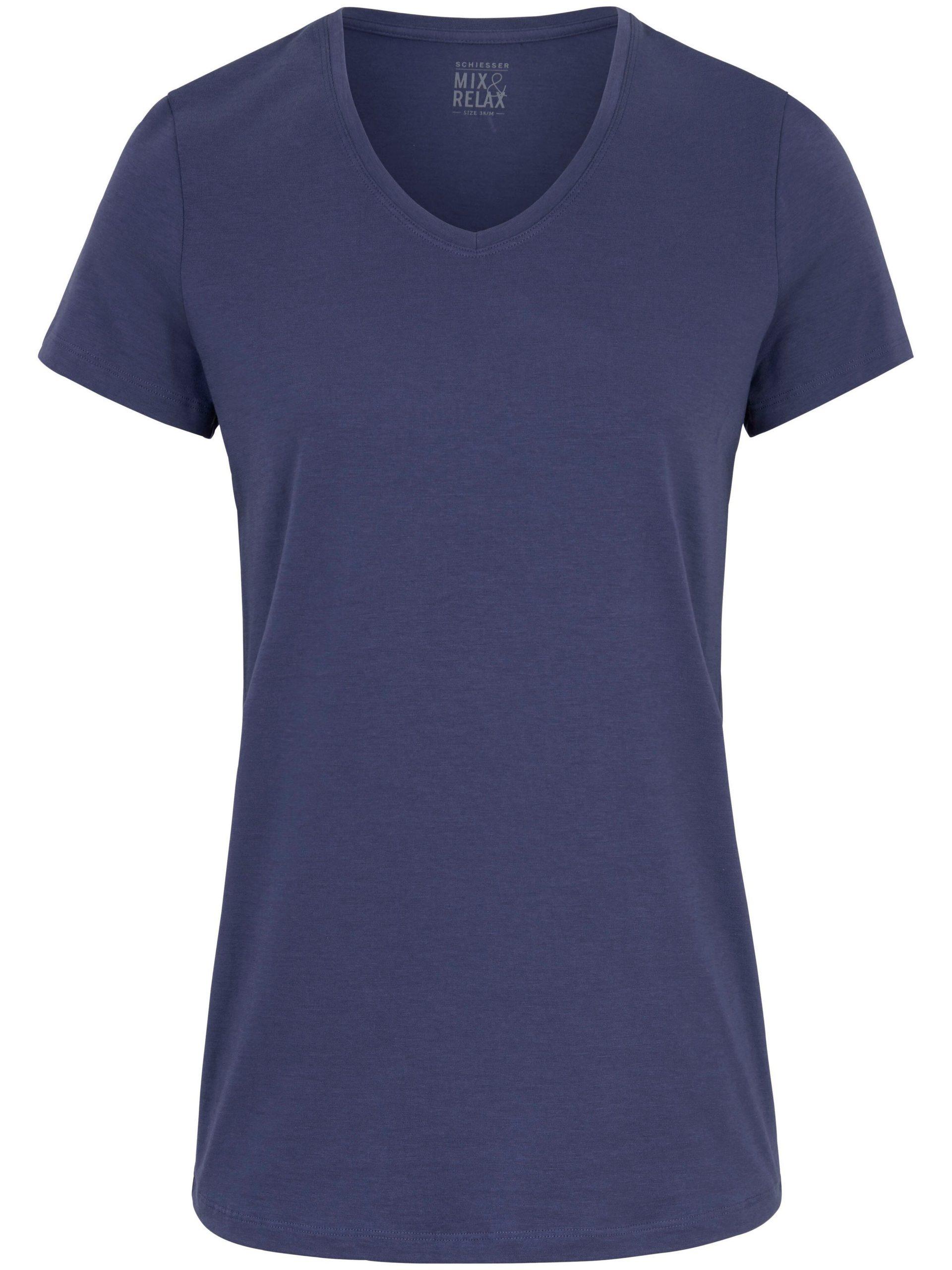 Shirt met V-hals Van Schiesser blauw Kopen