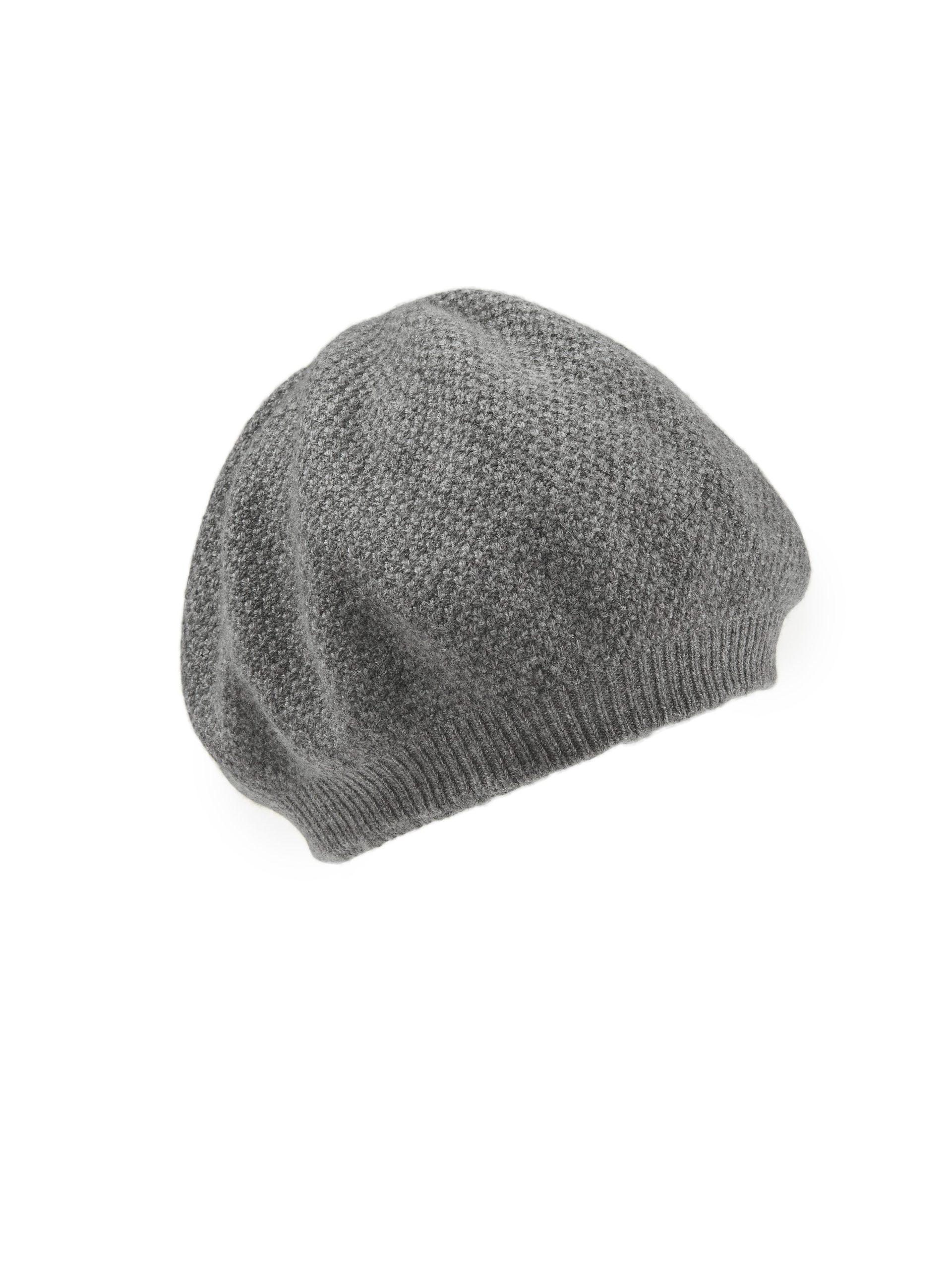 Keerbare baret 100% kasjmier Van Peter Hahn Cashmere grijs Kopen
