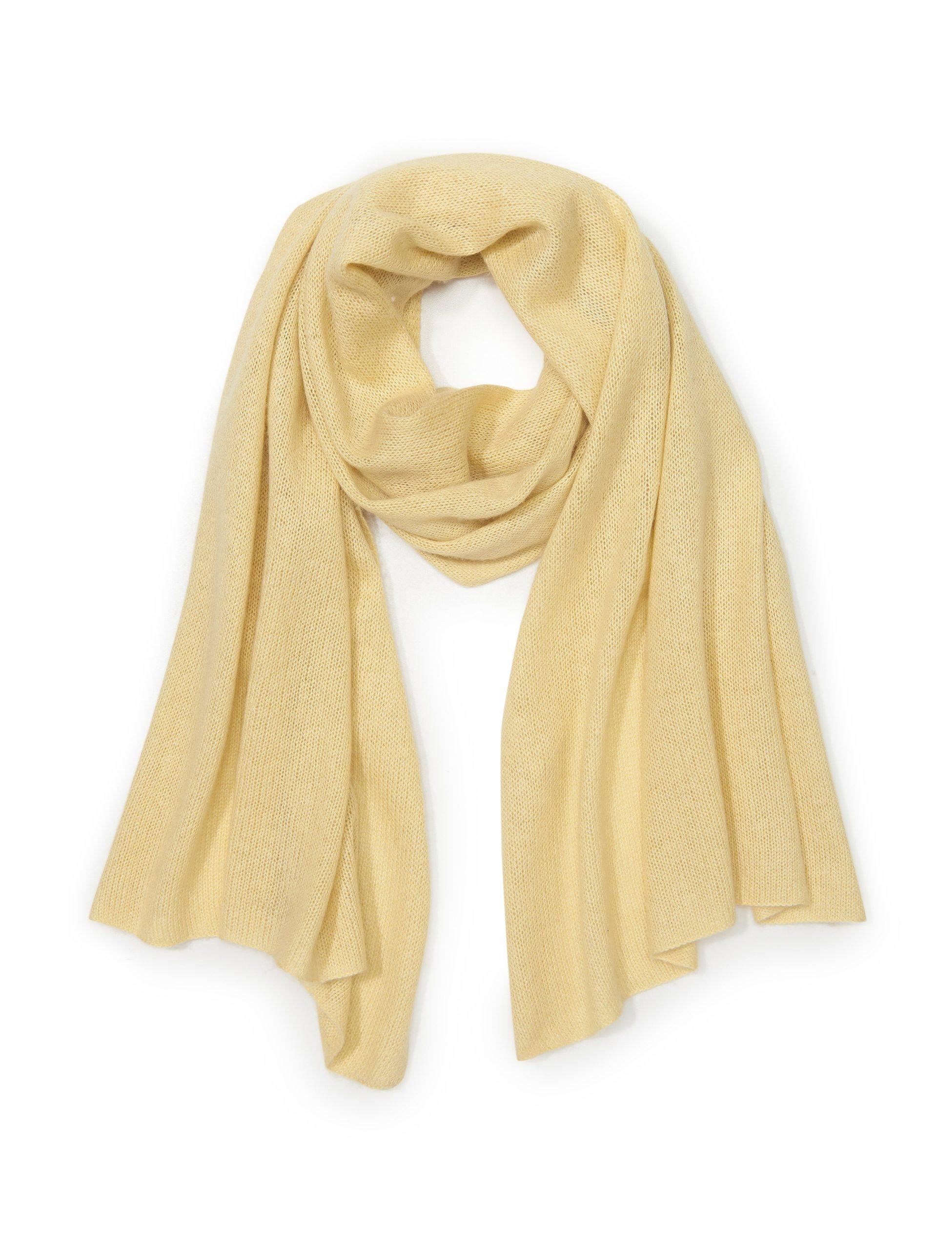 Sjaal van zijde en kasjmier Van Peter Hahn geel Kopen