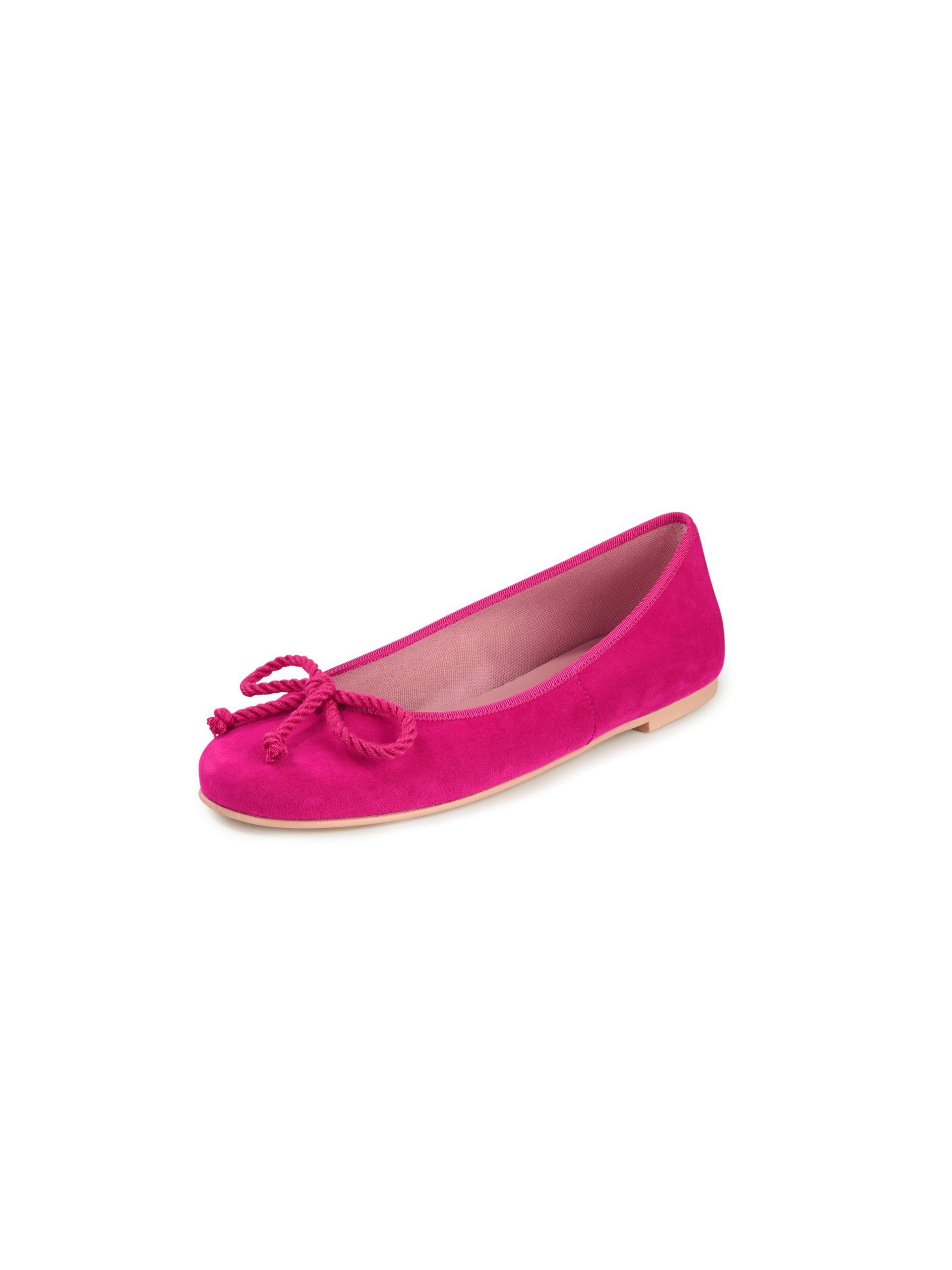 Ballerina's van geitensuèdeleer met koordstri Van Pretty Ballerinas roze Kopen