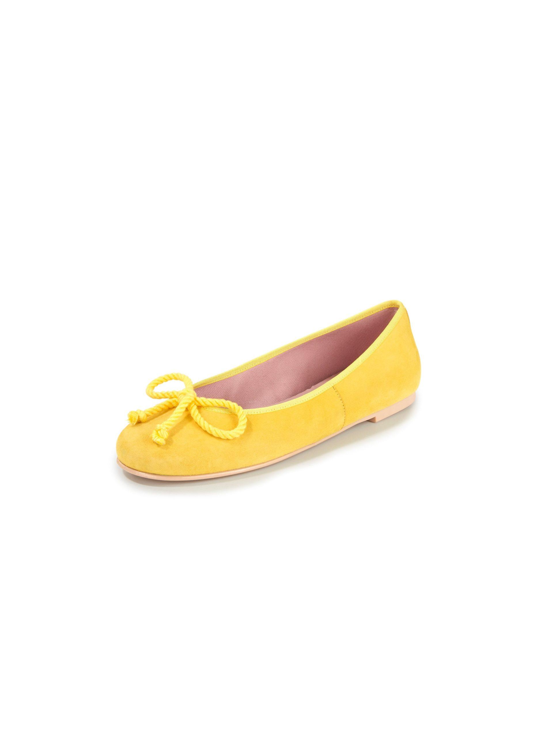 Ballerina's van geitensuèdeleer met koordstri Van Pretty Ballerinas geel Kopen