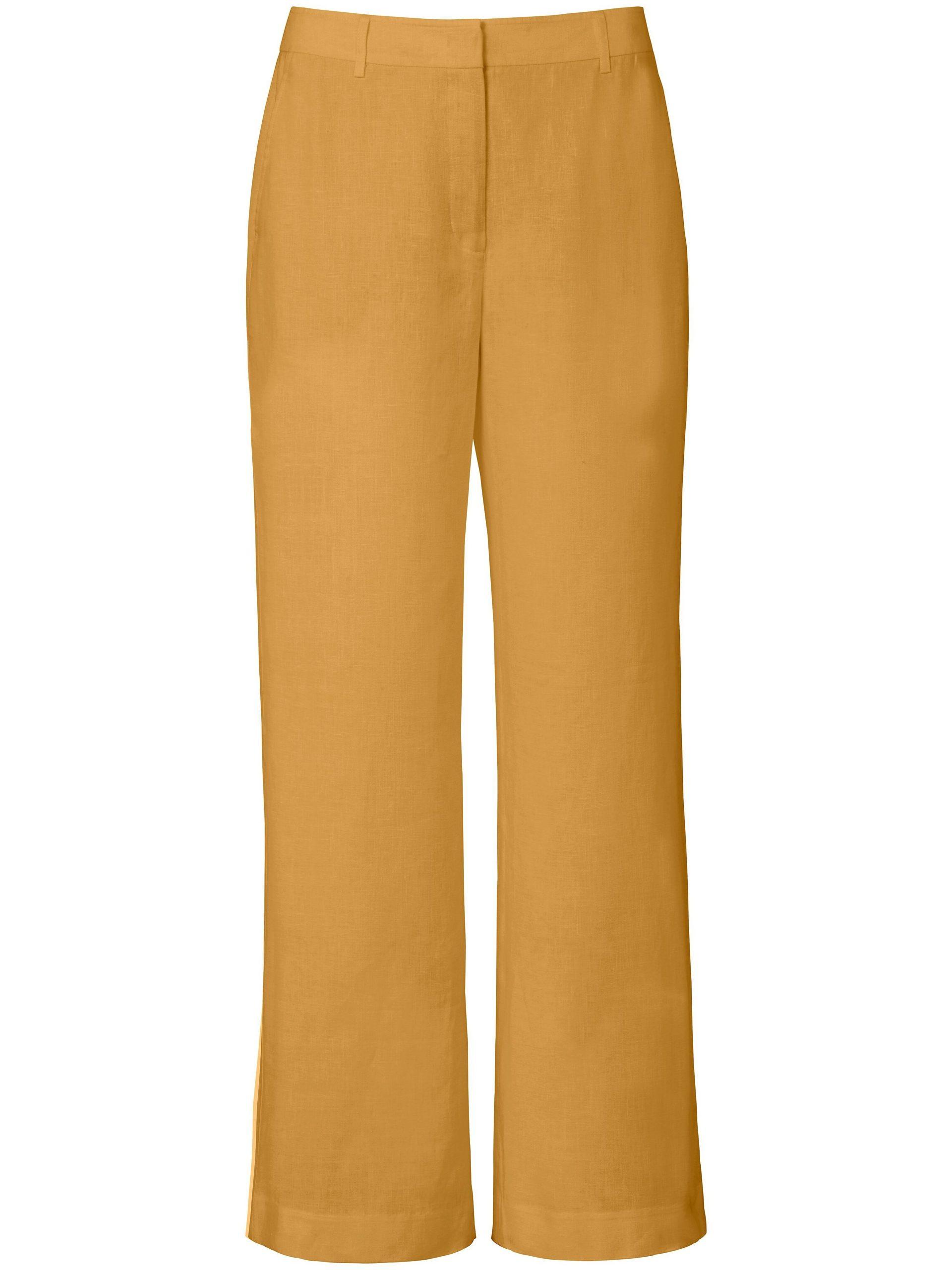 Broek pasvorm Cornelia van 100% linnen Van Peter Hahn geel Kopen