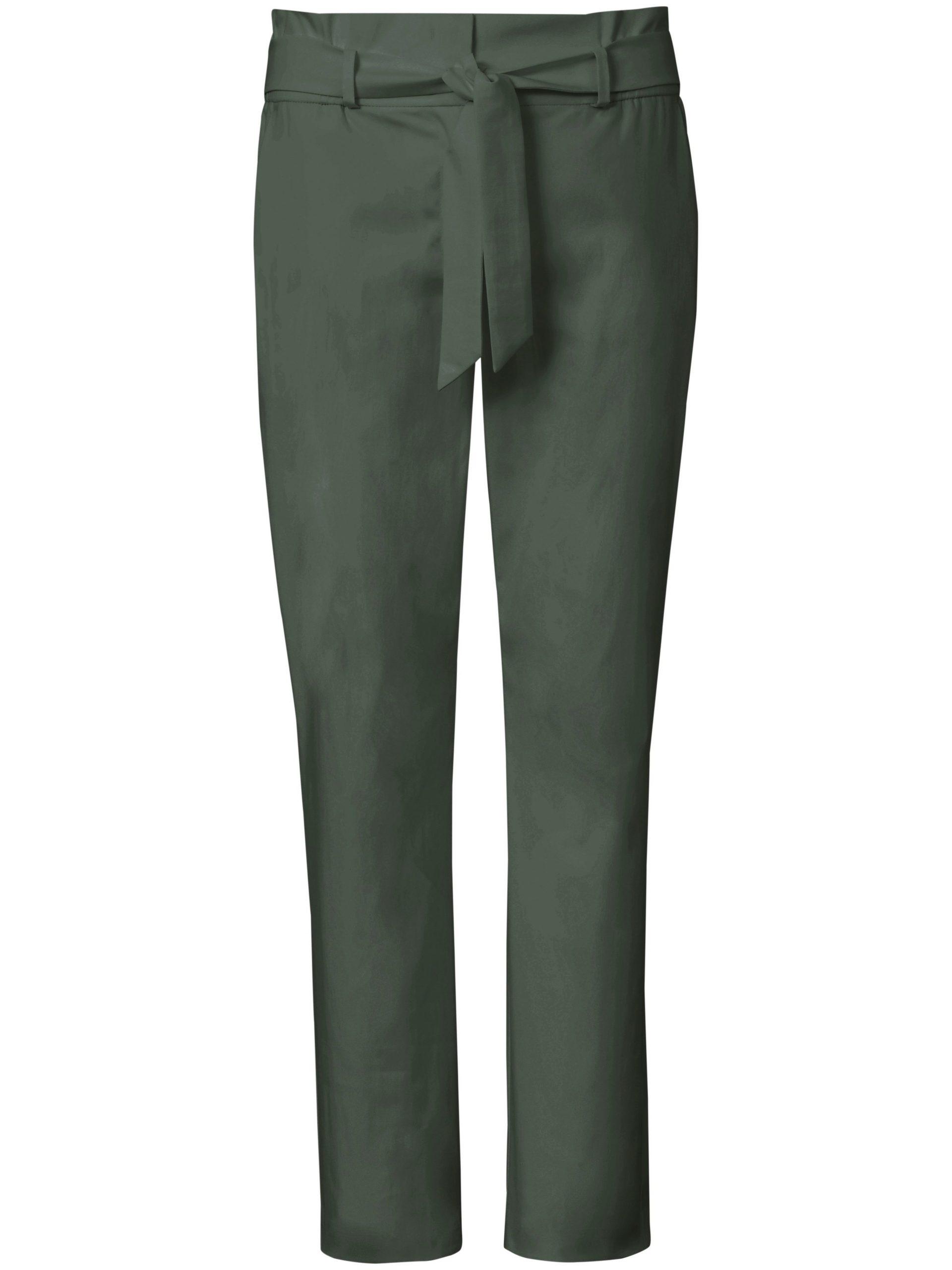 Enkellange broek pasvorm Cornelia in paperbagstijl Van Peter Hahn groen Kopen