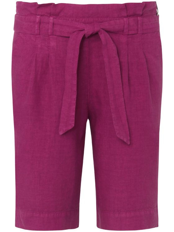 Short van 100% linnen met elastische tailleband Van Peter Hahn paars Kopen
