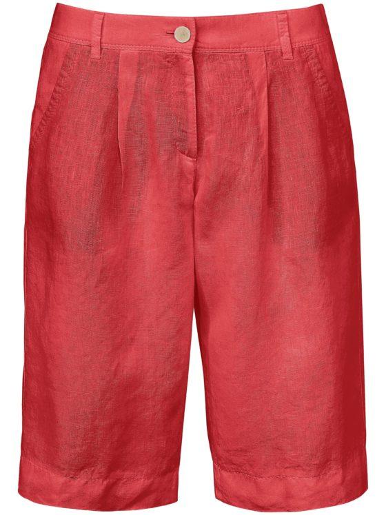 Bermuda van 100% linnen Van Brax Feel Good rood Kopen