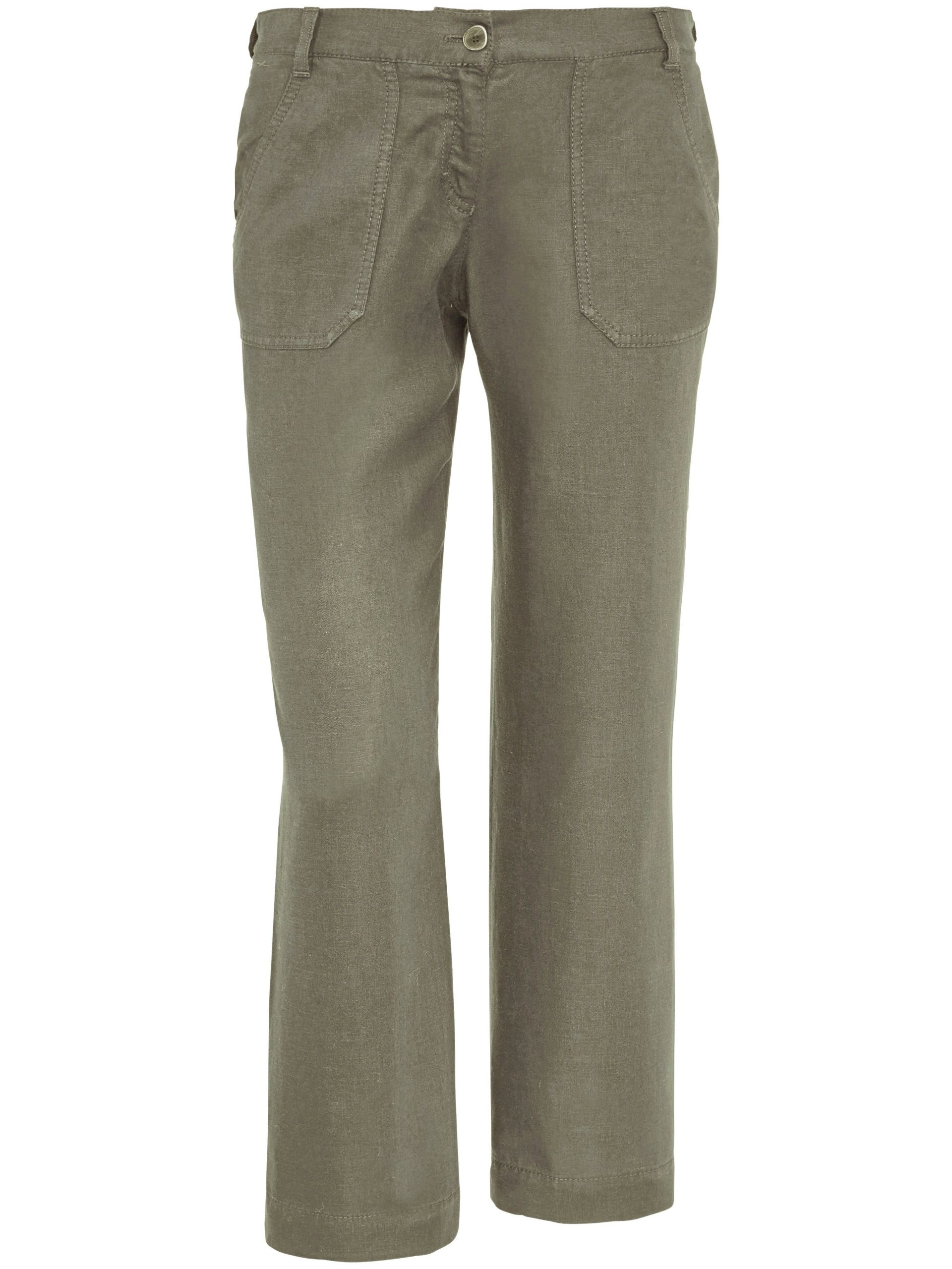 7/8-broek model maine sport van 100% linnen Van Brax Feel Good groen Kopen