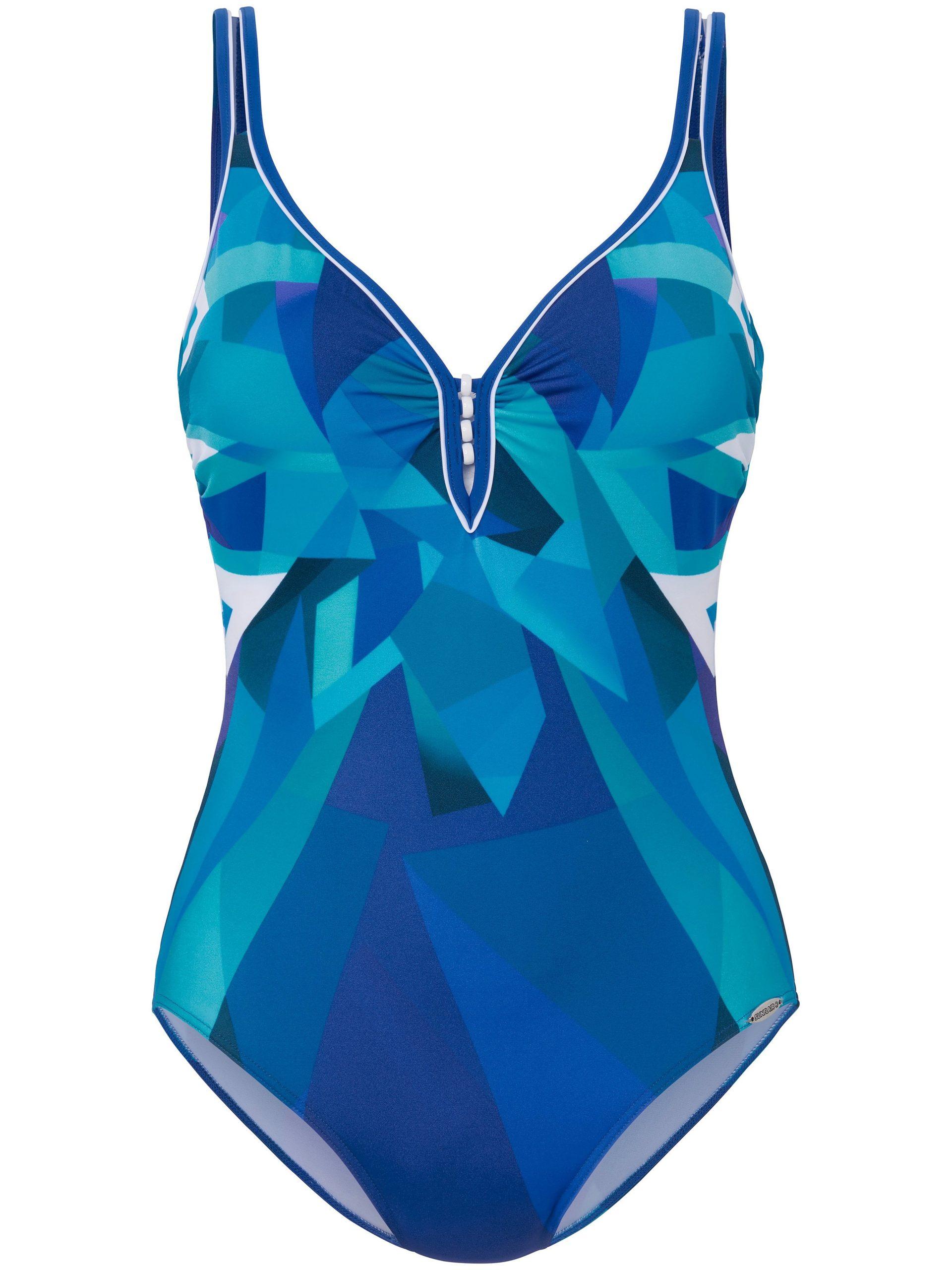 Badpak Xtra Life met grafische print en sierkralen Van Sunflair blauw Kopen