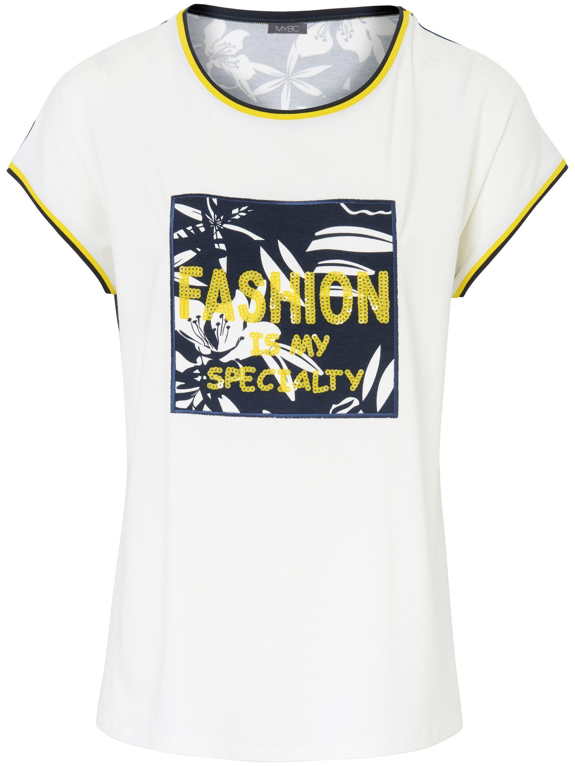 Shirt met ronde hals en aangeknipte mouwtjes Van MYBC multicolour Kopen