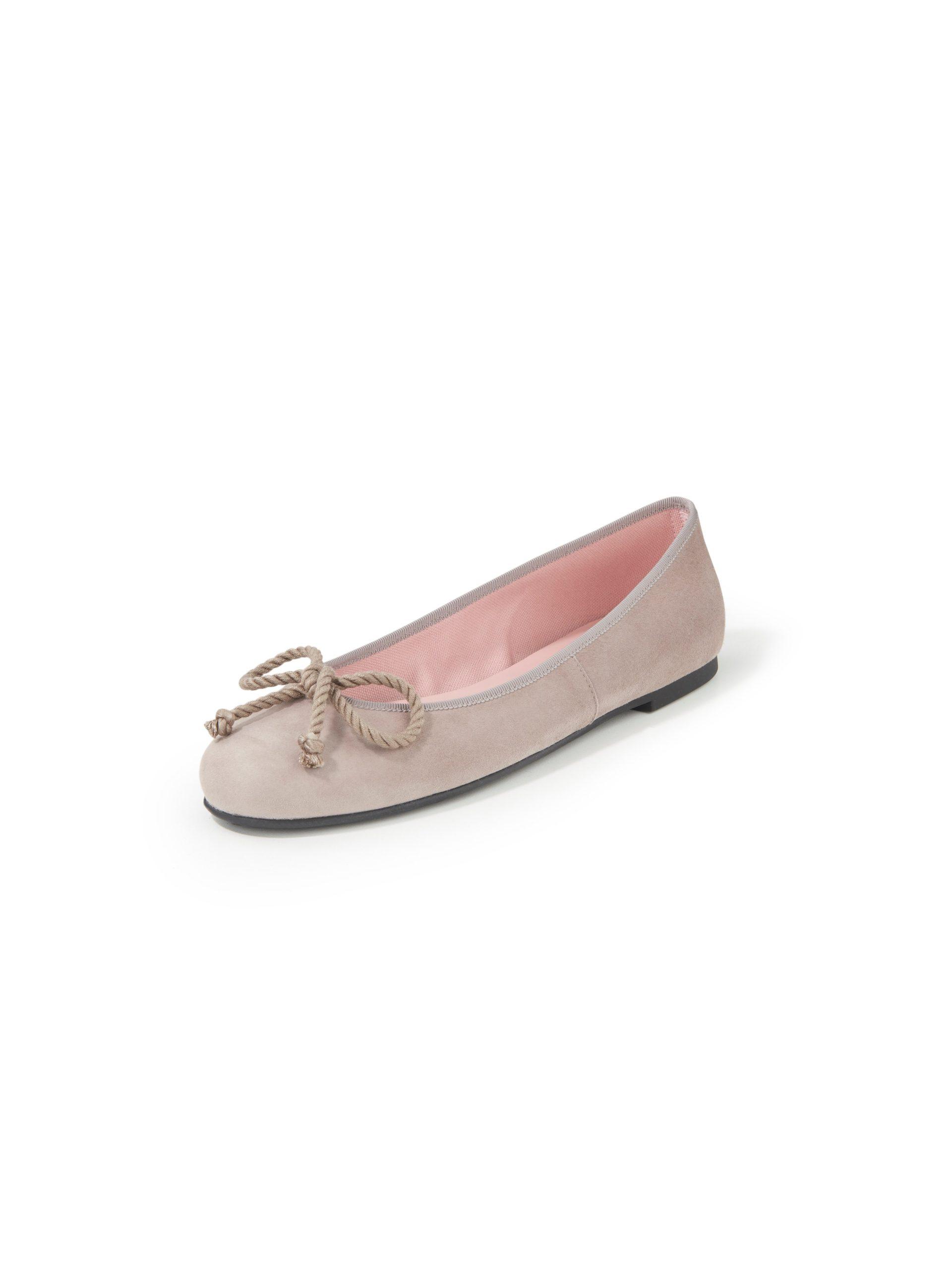 Ballerina's van geitensuèdeleer met koordstri Van Pretty Ballerinas beige Kopen