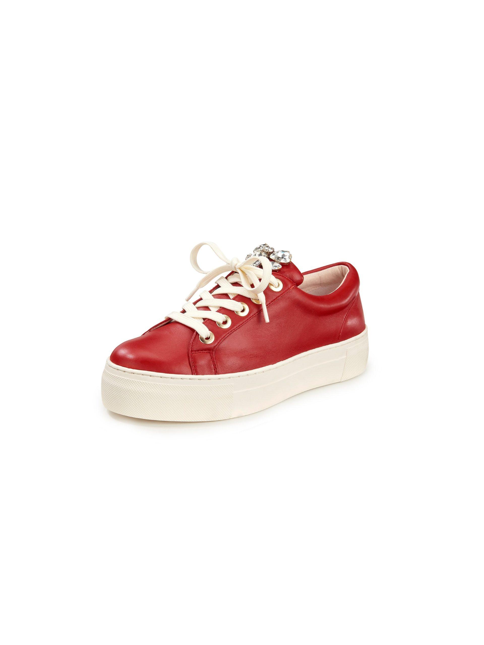 Sneakers van schaapsnappaleer Van Tizian rood Kopen