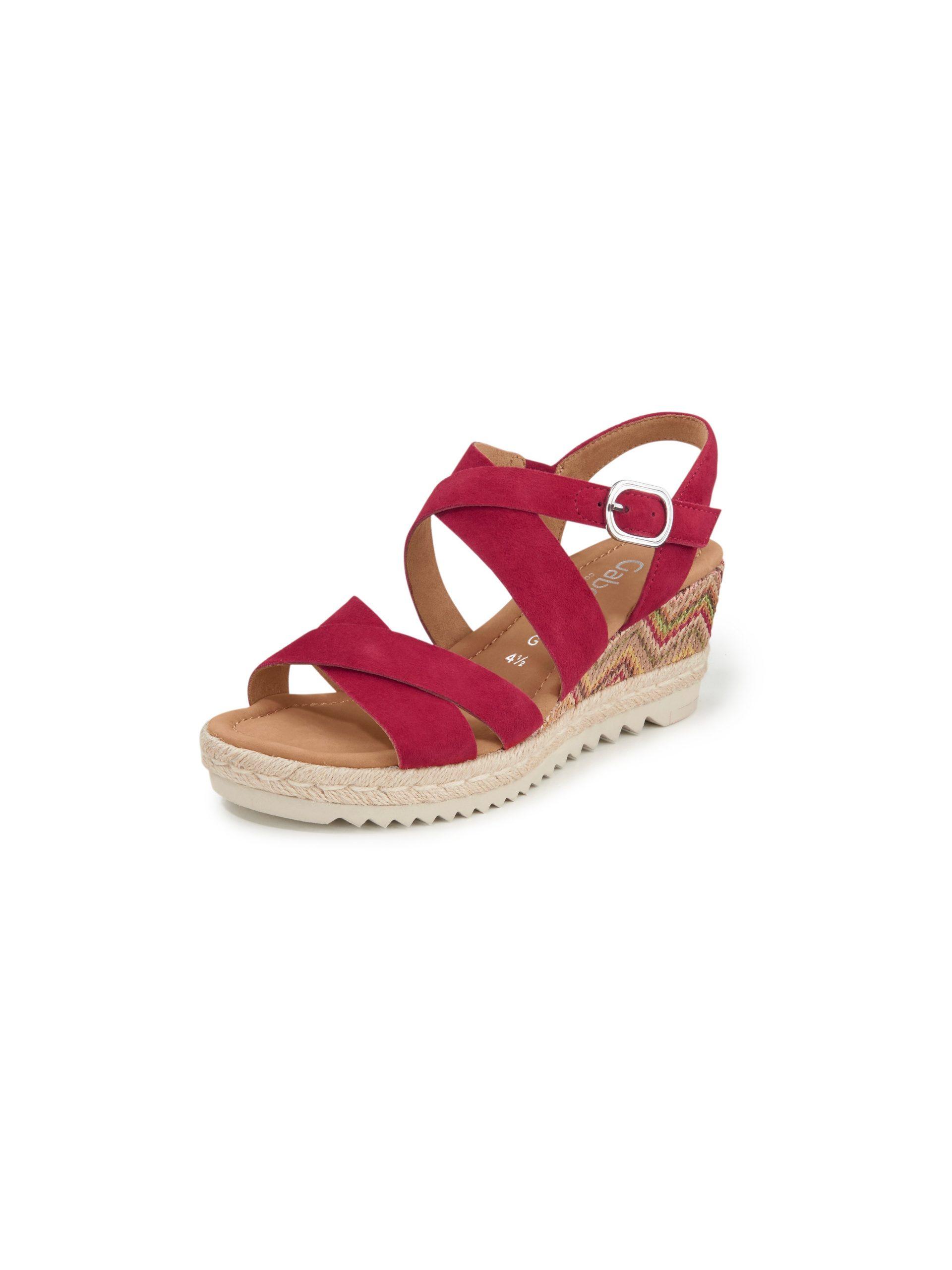 Sandaaltjes met sleehak van geitensuèdeleer Van Gabor Comfort rood Kopen