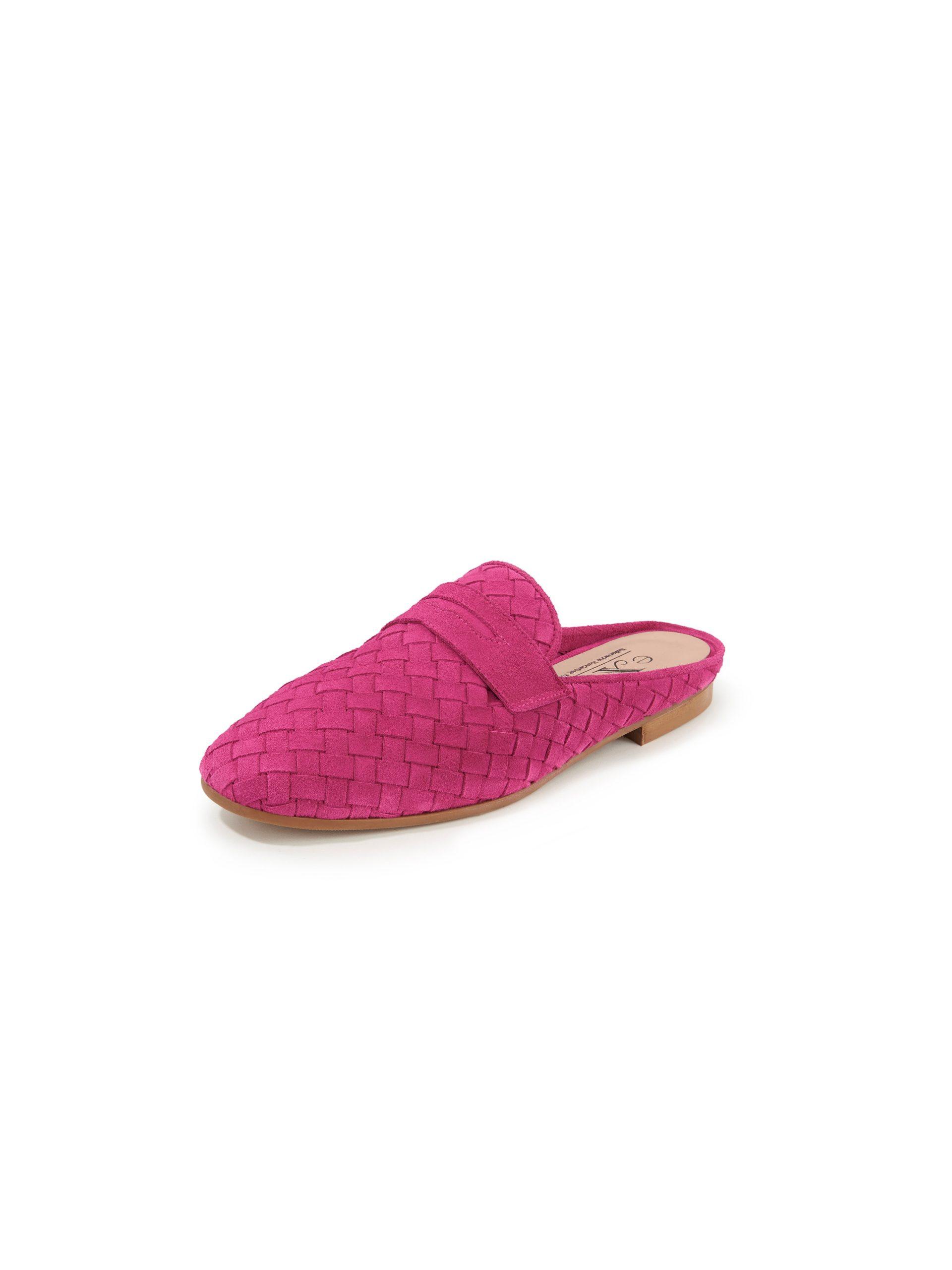 Gevlochten slippers van suèdeleren bandjes Van Peter Hahn exquisit roze Kopen