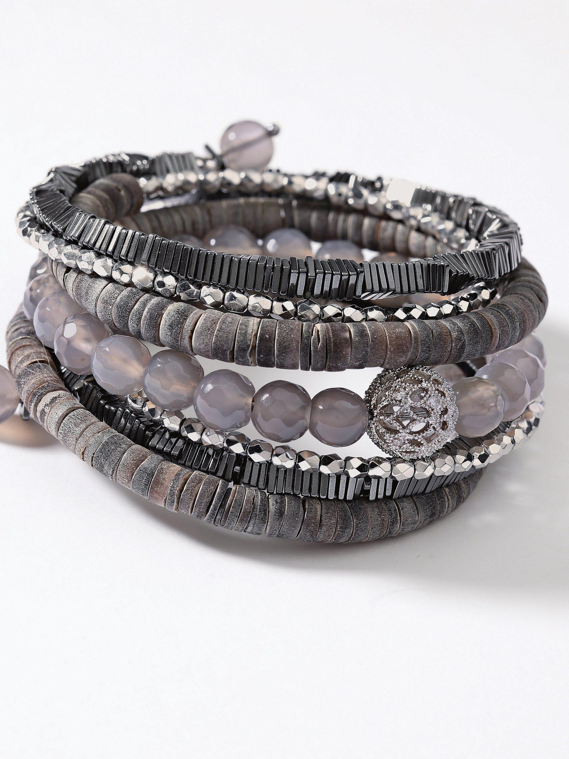 Armband met gefacetteerde agaatkralen Van Langani grijs Kopen