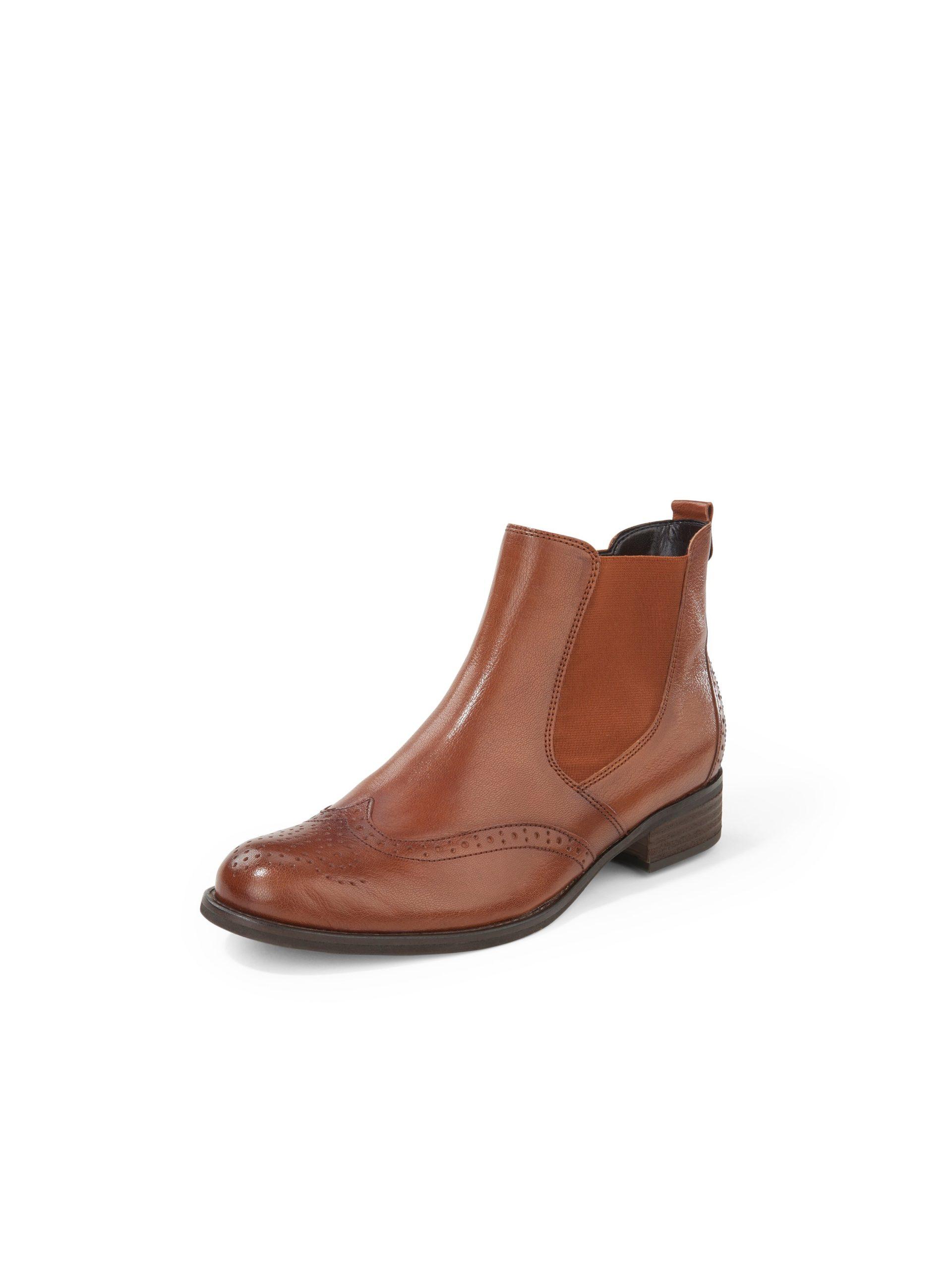Chelsea-boots van nappaleer met perforatie Van Gabor bruin Kopen