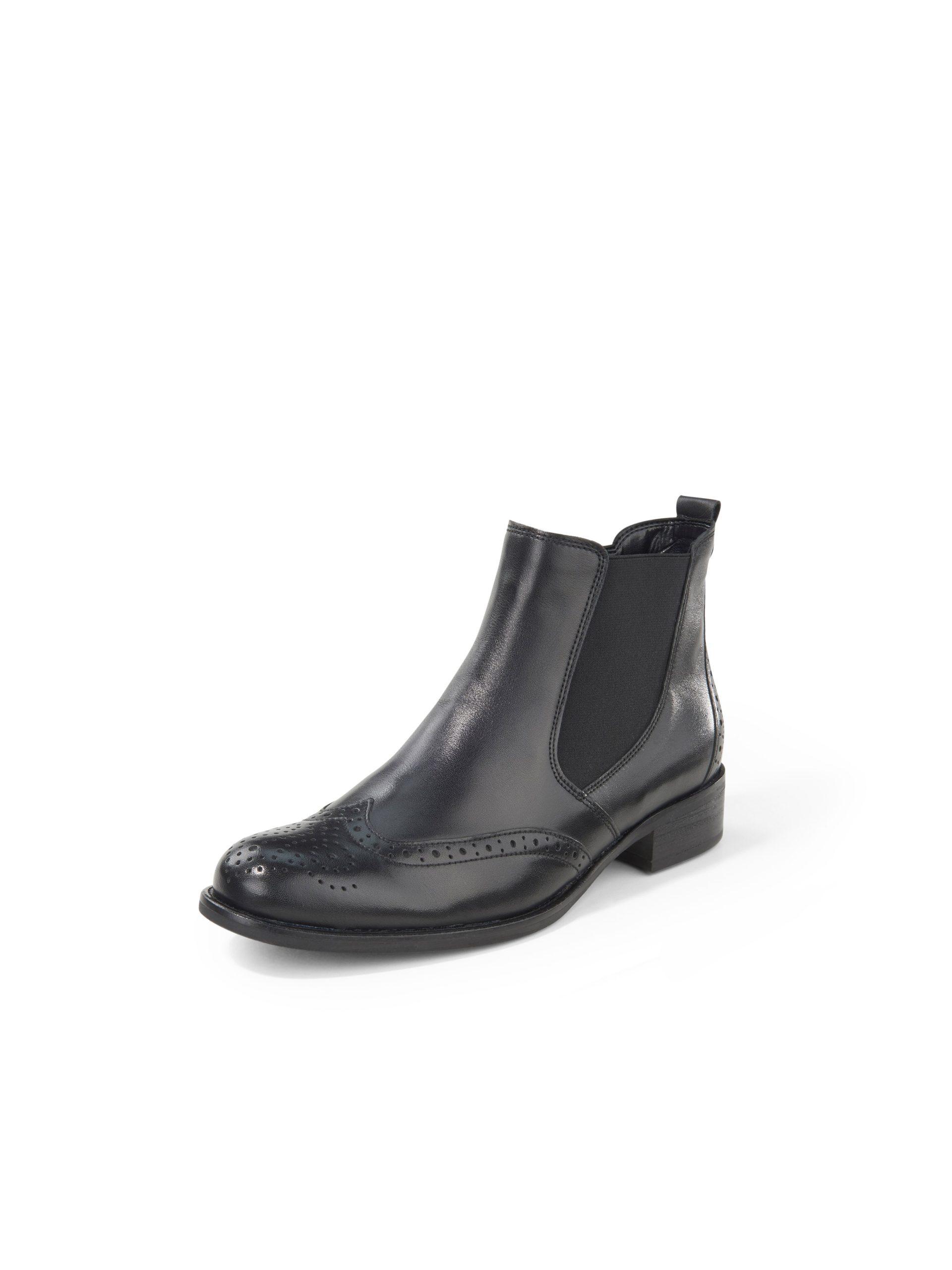 Chelsea-boots van nappaleer met perforatie Van Gabor zwart Kopen