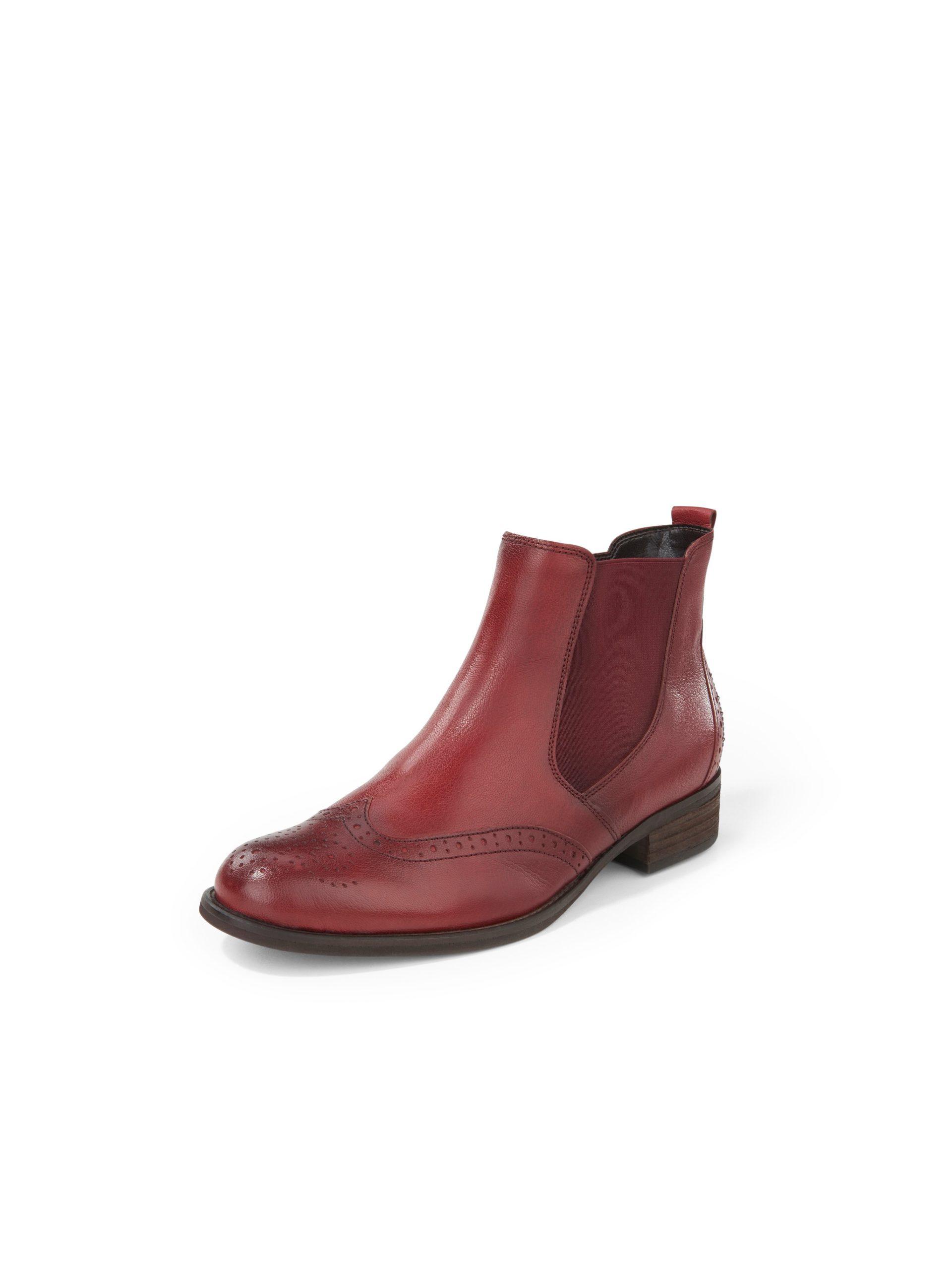 Chelsea-boots van nappaleer met perforatie Van Gabor rood Kopen