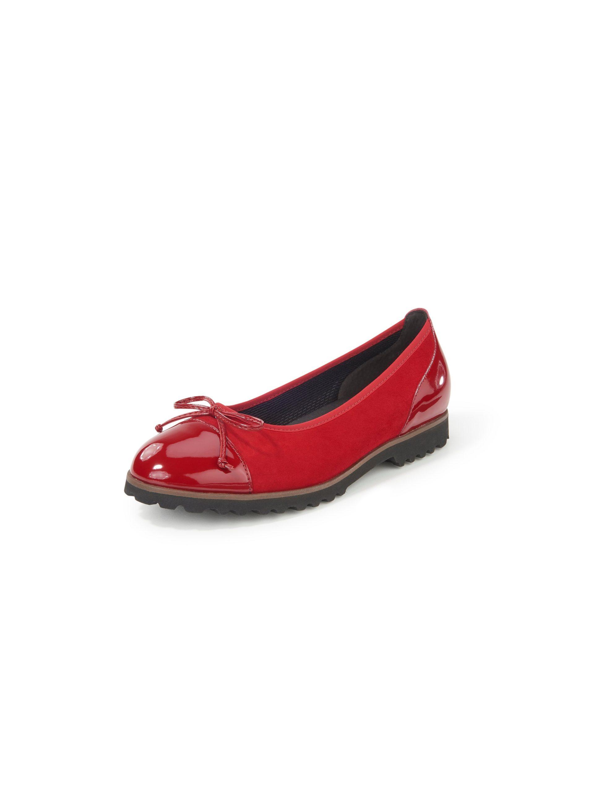 Ballerina's van geitensuèdeleer met strikje Van Gabor rood Kopen
