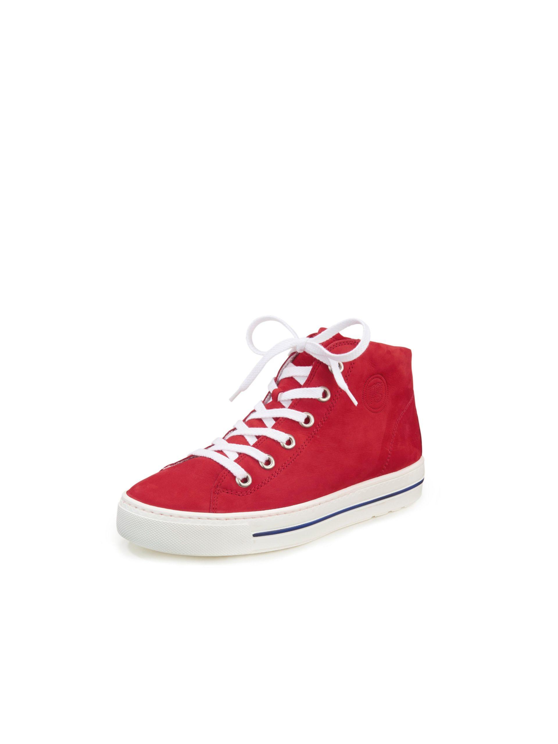 Enkelhoge sneakers van kalfsnubuckleer Van Paul Green rood Kopen