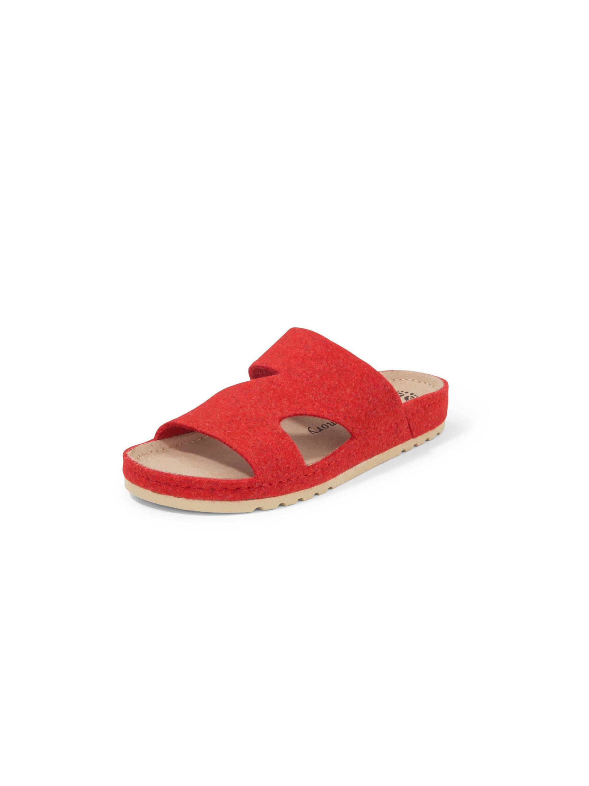 Slippers van wolvilt met gel-memory-voetbed Van MUBB rood Kopen