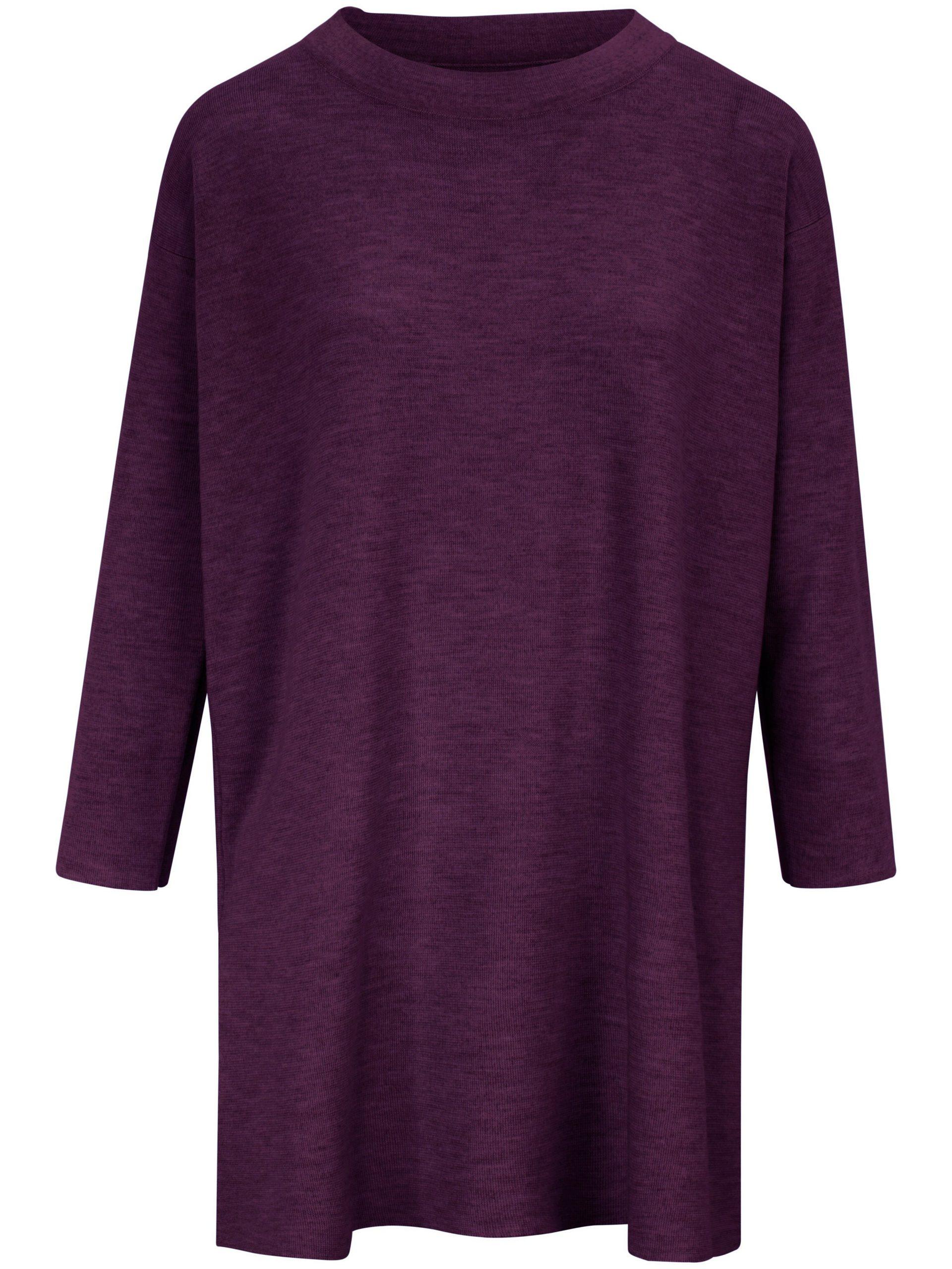 Lange trui van 100% scheerwol (Biella Yarn) Van Peter Hahn paars Kopen