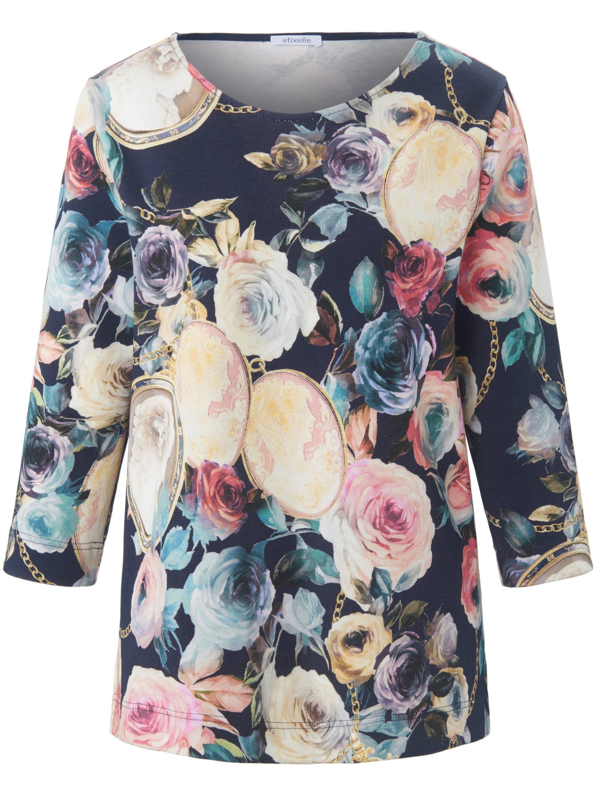 Trui-shirt met 3/4-mouwen en rozen- en stenenprint Van Efixelle multicolour Kopen