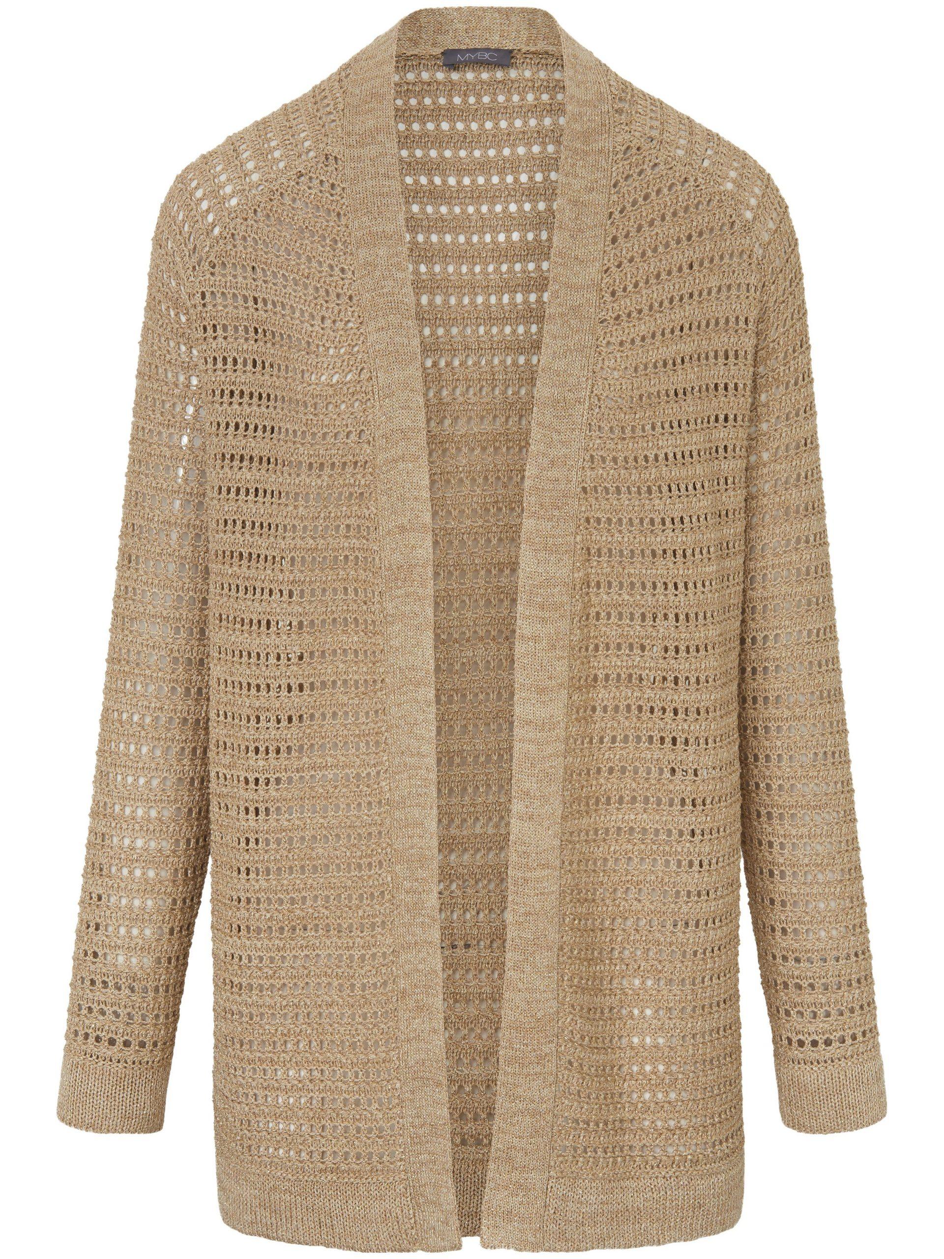 Lang vest met lange mouwen en glittereffect Van MYBC beige Kopen