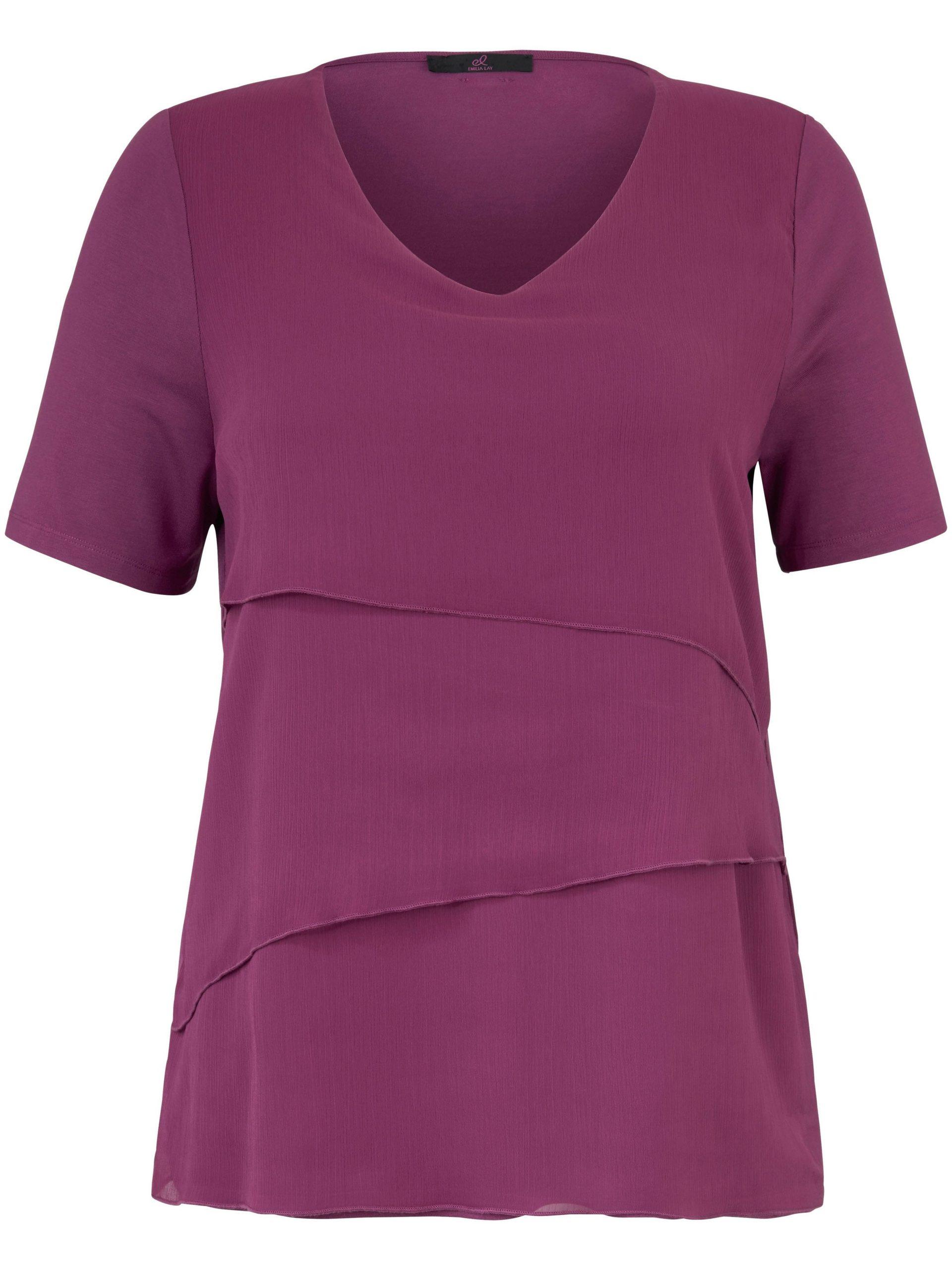 Shirt met V-hals en korte mouwen Van Emilia Lay paars Kopen