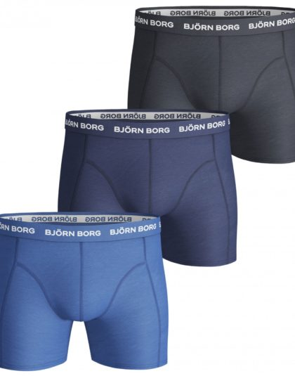 3-Pack Boxers Solids Blue Mix
